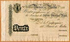 Malta, Banco Di Malta, 20 Lire, 18xx (ca 1886), P-S164, UNC > Rare, Remainder