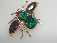 VINTAGE 1940-50'S FOILED COLORED RHINESTONE BUG PIN! GREAT DETAIL!