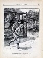Vintage Book Page Plate Print Men With Dog & Gun Hunting Scene Illustration 1917