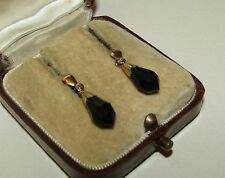 ELEGANT, VICTORIAN, 9 CT GOLD MOURNING EARRINGS WITH FACETED WHITBY JET