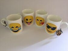 4 EMOJI/EMOTICON MUG SET-4 DESIGNS MUGS/CUPS-DISHWASHER/MICROWAVE SAFE-NEW-FACE