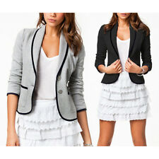 1PC Mujer Slim Single Button Blazer Short Turndown Collar Chaqueta Capa