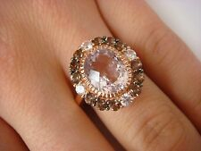 LE VIAN 14K ROSE GOLD AMETHYST, QUARTZ AND WHITE SAPPHIRE COCKTAIL RING