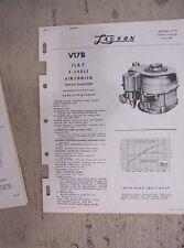 1950s Lauson Engine Parts Manual V17B  1 3/4 HP  4 Cycle Vertical Crankshaft  K