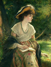 Large oil painting nice young woman portrait wearing dress hat reading book 36""