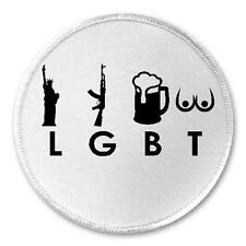 "LGBT Liberty Guns Beer Tits - 3"" Sew / Iron On Patch Funny Joke Humor America"