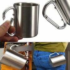 NEW Outdoor Camp Camping Cup 220ml Stainless Steel Carabiner Hook Double Wall LO