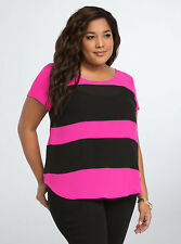 TORRID INDIE GLAM COLOR BLOCK BUTTON BACK TOP, Size 4  NWT