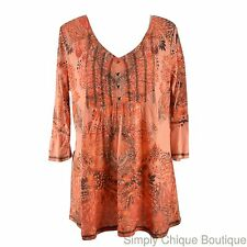 ONE WORLD 1X Peach Cotton Tunic Top NEW Ruffle Sleeve Boho Plus NEW Shirt