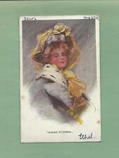 Lovely LADY In HAT On A/S PHILIP BOILEAU Vintage 1909 Postcard--WINTER WHISPERS