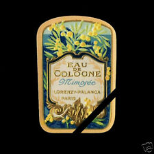 Antique French Perfume Label Early 1900's Embossed Mimosee Lorenzy Palanca