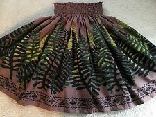 "NEW  BROWN FERN HAWAIIAN PAU PA'U HULA  SKIRT 28"" LONG MADE IN HAWAII"