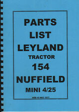 Leyland 154 and Nuffield Mini 4/25 Tractor Illustrated Parts Book