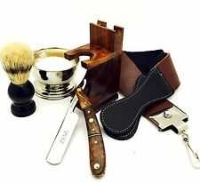 7 PC VINTAGE MULTIWOOD COLOR STRAIGHT RAZOR SHAVING SET KIT IN GIFT BOX