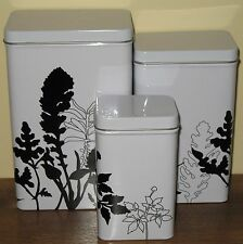 Ikea Kitchen Canister Set Lot Graphic Black and White Floral Pattern Metal