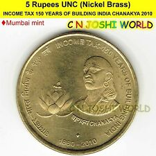 2010 INCOME TAX 150 YEARS OF BUILDING INDIA CHANAKYA Ni-Brass 5 Rupee UNC 1 Coin