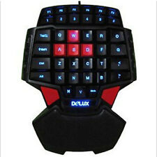 LED light Illuminated Gaming Keyboard One Hand Keypad for PC Gamer WOW 3 Modes