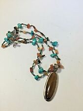 Multi Bead 2 Strand Turquoise Sunstone Necklace with a Tiger Eye Enhancer Drop