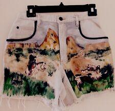 Vtg Liz Wear 80's Boho High Waist denim Handpainted Western Mural jean shorts M