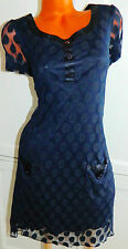 ENFOCUS WOMEN Sz XL 14/16 DRESS Navy BLUE Polka Dot SHEATH Sheer CAREER Wear   O