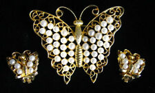 Vintage 60's LISNER BUTTERFLY BROOCH/EARRINGS SET~Faux PEARL,fjt