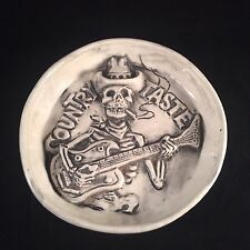 Vintage Berney Karp Rumph COUNTRY TASTE ashtray skeleton guitar Cowboy ceramic