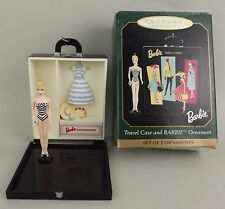 1999 Barbie Hallmark Ornament Black Travel Case Suburban Shopper MIB Swimsuit