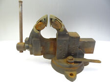 Vintage Metal Industrial Brass Jaw Chas Parker Co Machinists Bench Table Vise