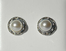 Light Cream Coloured Faux Pearl Clear Crystal Silver Tone Stud Earrings On Posts