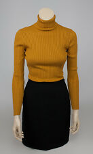 STEFANEL Mustard Yellow Ribbed Wool Blend Turtle Neck Jumper Sweater SIZE M