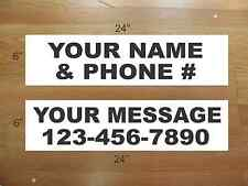 """10 6""""x24"""" White & Black REAL ESTATE NAME RIDER SIGNS CUSTOM LOWEST PRICE NEW"""