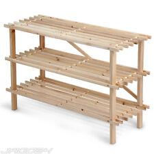 Étagère à chaussures meuble rangement 3 niveaux en bois de sapin
