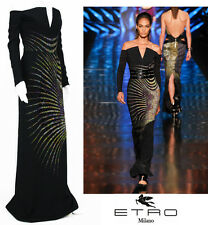 NEW $6660 ETRO CAMPAIGNE BLACK MICRO BEADED DRESS GOWN 40 - 4