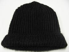 BLACK - HEAVY ACRYLIC - ONE SIZE - BEANIE HAT STOCKING CAP!