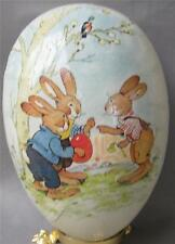 4.5 inch German Paper Mache Easter Egg Bunny Boys Red Egg Erzgebirge Germany