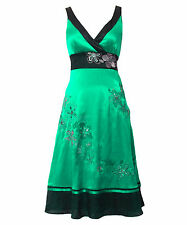 Monsoon LETICIA Size 12 Green Silk Embroidered Ladies Dress Party Wedding