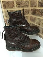 Vintage Rare Women's Dr Marten Brown Croc Leather Patent Boots Uk Size 5 EU38