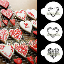 3PCS Heart Embosser Fondant Cake Stencil Border Decor Cookies Coffee Icing Mould