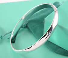 Hot 925 Sterling Silver Chic Circle Clip Cuff Smooth Bangle Women Bracelet