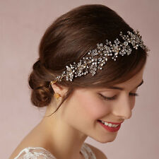 Vintage Wedding Bridal Crystal Pearl Headband Ribbon Band Crown Tiara Jewelry GS