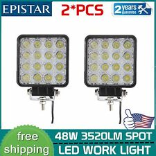 Pair 48W Spot Square LED Light Bar Driving/Fog SUV 4WD UTE Tractor Boat Offroad