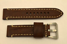 24mm brown genuine leather watch band heavy duty strap fit Luminox white stitch