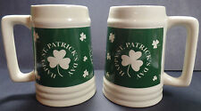 Saint Patrick's Day Beer Steins Clovers Mugs Green St Paddys Set of 2 Large