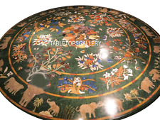 """36"""" Green Marble Dining Table Top Elephant Arts Inlay Marquetry Art Decor H3031A"""