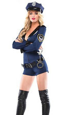 Ladies Police Cop Costume Fancy Dress Sexy Woman Halloween Outfit M/8-10