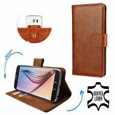 Genuine Leather Mobile Phone Wallet Case For MEDION LIFE E4503 - 360° Brown S