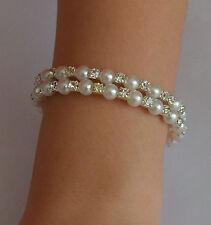 2Rows Fashion Elegant Silver Plated Crystal Pearl Bracelet Bangle Cuff Wedding