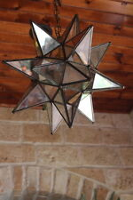 "Moravian  star 13.5"" clear/ antique glass star with ceiling canopy"