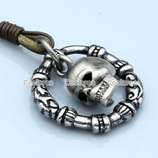 Vintage Gothic Punk Mens Silver Skull Hoop Genuine Leather Rope Necklace Pendant