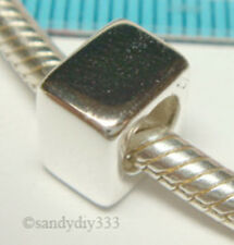 1x STERLING SILVER CUBE RONDELLE BEAD SPACER for EUROPEAN CHARM BRACELET J154